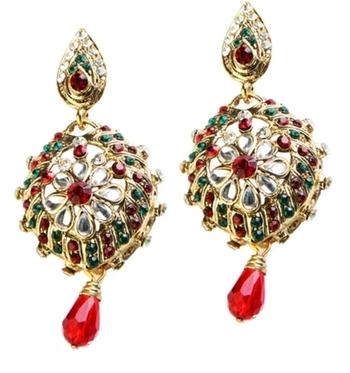 Dealtz Fashion Red & Green Shine Floral Earrings