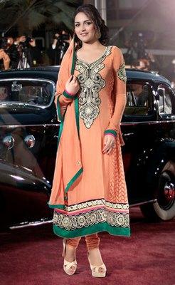 Hypnotex Orange Georgette Semi Stitch Dress