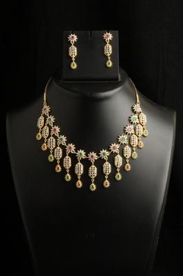 chic style multicolor american diamond necklace
