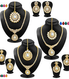 Buy Fabulous Gold Plated AD Set of three Necklace Set with Set of 15 Changeable Stone Combo For Women jewellery-combo online