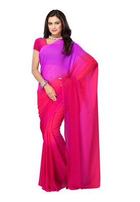 DyeFab Pink Colored Chiffon Padding Plain Saree