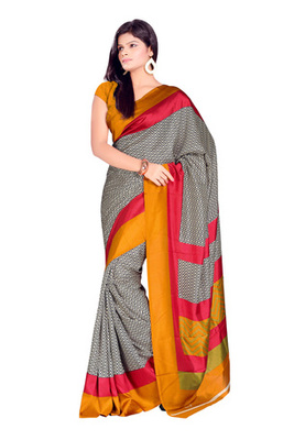 Fabdeal Black Colored Crepe Printed Saree