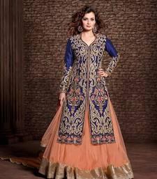Buy Blue and peach embroidered satin cotton unstitched salwar with dupatta anarkali-salwar-kameez online