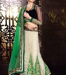Buy Majesty beige & green embroidered lehenga choli ghagra-choli online