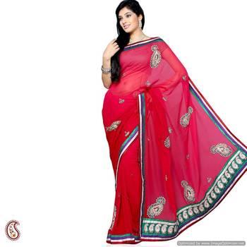 Cardinal Red Embroidery Saree