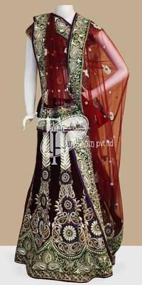 Winsome maroon velvet beautiful work design bridal lehenga