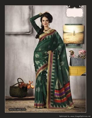 Bottle Green Bhagalpuri Cotton Silk Saree SC7235
