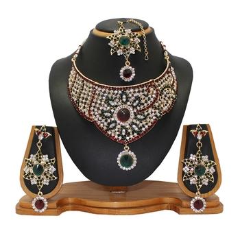 Maroon studded_jewellery Diamond Necklaces