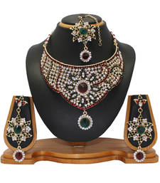 Buy Maroon studded_jewellery Diamond Necklaces Necklace online