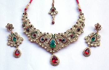 INDIAN Bridal Zircon and Colored Stone Stud Royal Vintage Necklace Set without maang tikka