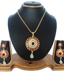 Buy Maroon studded_jewellery Diamond Pendants Pendant online