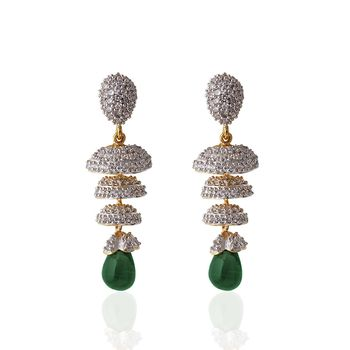 Heena Festive hanging green pearl Earings >> HJER16G <<