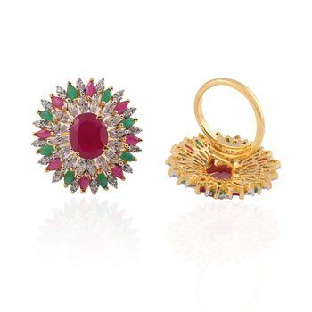 Heena Festive Multicolour stones Ring @ HJRN14RM