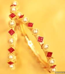 Buy Pearl & Ruby Gold Look Royal Bangles bangles-and-bracelet online