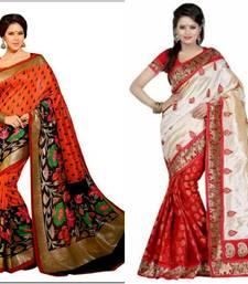 Buy Bikaw Printed Multicolor Bhagalpuri Silk Fashion Ethnic Wear 2 designer sarees combo. sarees-combo-sari online