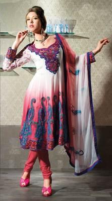 Off white/Shaded Salwar Kameez Churidar Dress Material SCA3421