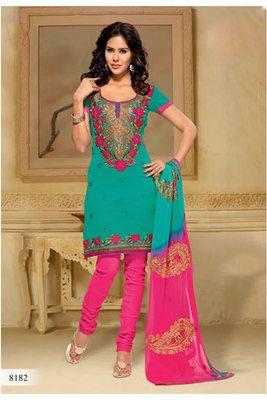 Casual Wear Sea Green Dress Material