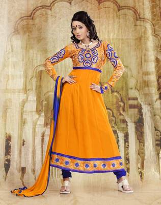 Riti Riwaz Georgette  Fabric  With Un-Stitch Dupatta  yellow Color SG1032