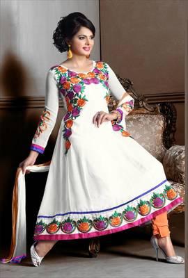 Riti Riwaz Georgette  Fabric  With Un-Stitch Dupatta  White Color MB1029