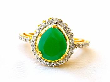 Emerald Diamond Studded Ring