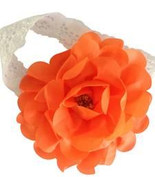 Buy Newborn Orange Flower Bunch soft Georgette Lace Headband.Kids hair Accessory hair-accessory online