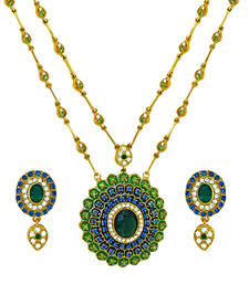 Buy Traditional Ethnic Peacock Feather Pendant set with Crystals For Women by Don Pendant online