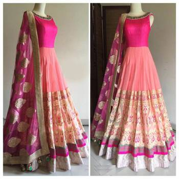 Pink embroidered georgette semistitched salwar with dupatta
