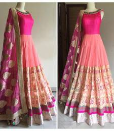 Buy Pink embroidered georgette semistitched salwar with dupatta anarkali-salwar-kameez online