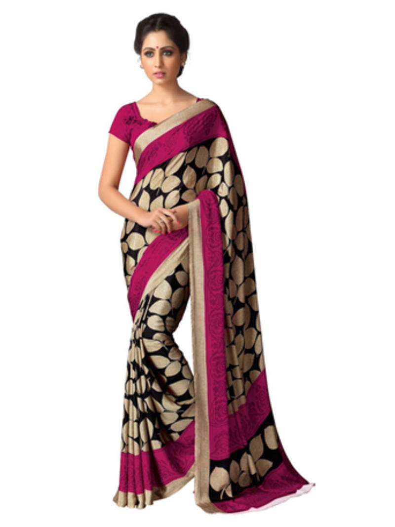 Buy Beige And Pink Printed Crape Saree With Blouse Online