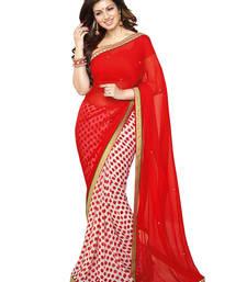 Buy red printed georgette saree With Blouse below-1500 online