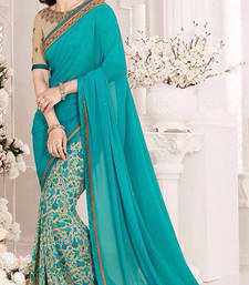 Buy turquoise embroidered georgette saree With Blouse georgette-saree online