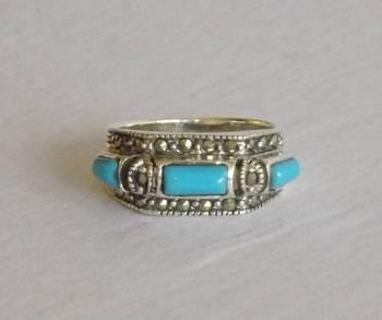 Swiss Marcasite Silver Ring with Semi Precious Stone
