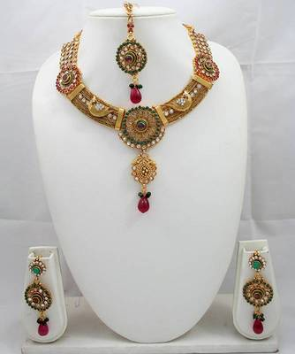 Designer Necklace Set With Kundan,Ruby and Emerald
