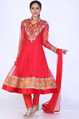 Rose-madder Red Net Embroidered Party and Festival Ready Made Anarkali Salwar Kameez