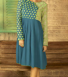 Buy Peacock blue and green embroidered georgette stitched kurtis party-wear-kurtis online