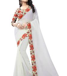 Buy White Chanderi Cotton Kalamkari Print saree With Blouse printed-saree online
