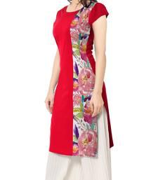 Buy Red printed faux crepe stitched kurti long-kurti online
