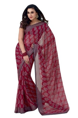 Triveni Latest Indian Designer Pleasing Paisely Motif Printed Chiffon Saree