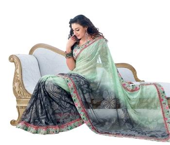 Triveni Latest Indian Designer Wonderful Foliage Patterned Chiffon Saree