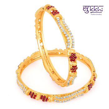Sukkhi Gold Plated Color Stone bangels