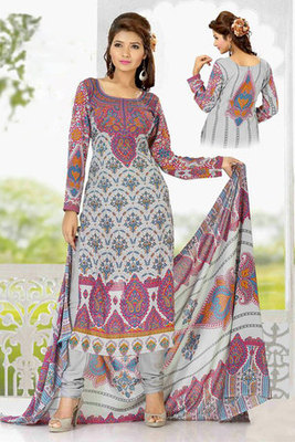 Lovely Cream Colour Georgette Salwar Kameez Decked with Printed Work