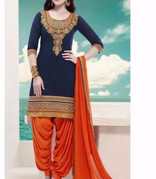 Buy Blue cotton embroidered semi stitiched salwar with dupatta punjabi-suit online