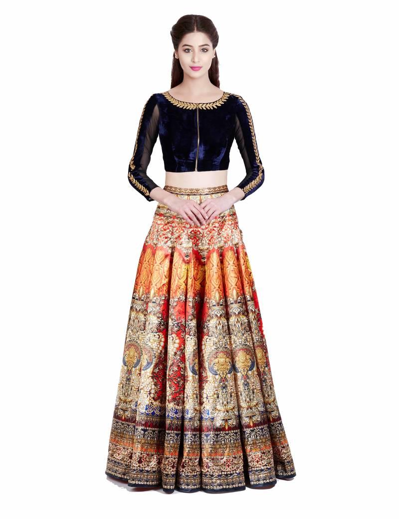 Buy Dark orange printed taffeta silk and velvet unstitched ...