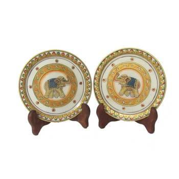 eCraftIndia Green Elephant Etched Decorative Plates (Set of 2)