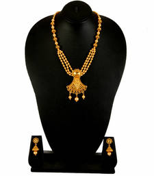 Buy Gold  White Pearl Alloy Necklace Earring Set for Women south-indian-jewellery online
