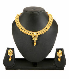 Buy Gold  Alloy Necklace Earring Set for Women south-indian-jewellery online