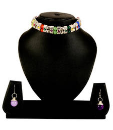 Buy Multi-Colour Necklace Earrings Set For Women and Girls south-indian-jewellery online