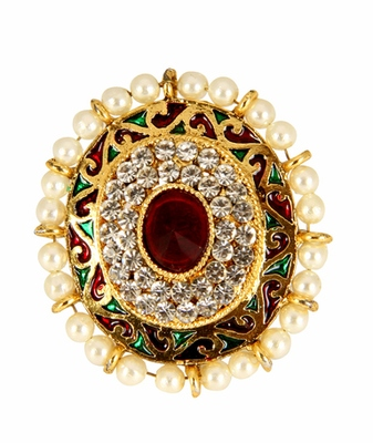 Gold Red Green White Pearl Alloy Adjustable Finger Ring for Women