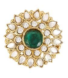 Buy Green White Alloy Adjustable Finger Ring for Women Ring online
