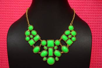 Fluroscent Green Resin and Metallic Neckline